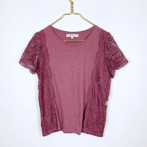 Loft Lace Side And Sleeve Short Sleeve Top Mauve